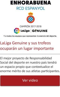 LaLiga Genuine y sus trofeos ocuparán un lugar importante en la sección Fútbol
